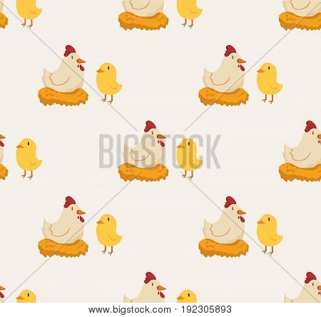 Seamless pattern with little chicken. Poultry. Farming. Livestock raising