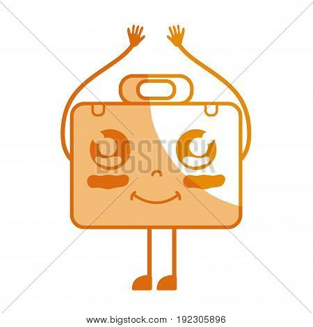 silhouette kawaii cute happy briefcase and medical kit vector illustration