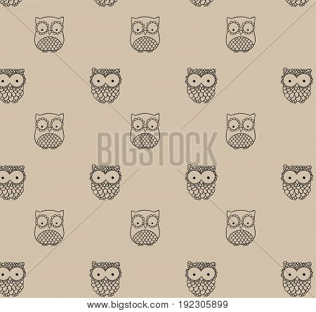 Barn owl. A seamless pattern in the handdrawn style