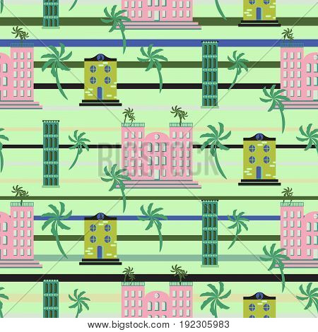 Hawaii resort buildings seamless vector pattern. Retro style resort green striped background for textile and shirt apparel.