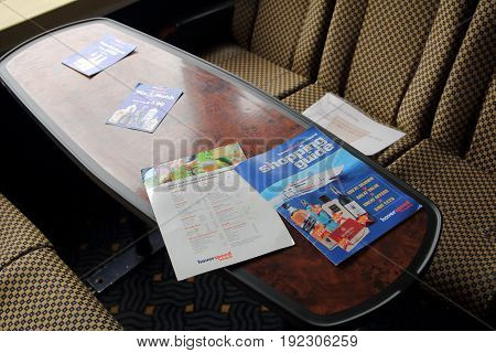 Lee-on-the-solent, Hampshire, Uk - June 10 2017: Table In The Passenger Cabin Of An Sr.n6 Hovercraft
