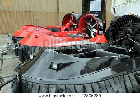 Lee-on-the-solent, Hampshire, Uk - June 10 2017: Three Small Hovercraft At The Hovercraft Museum In