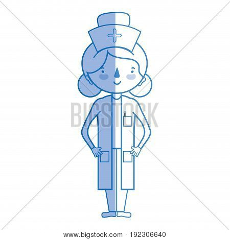 silhouette professional nurse with hat in the head vector illustration