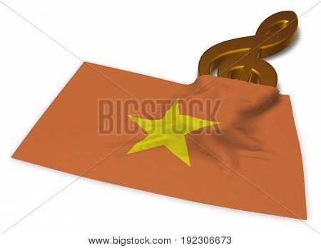 clef symbol symbol and flag of vietnam - 3d rendering