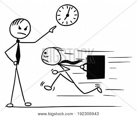Cartoon vector doodle stickman running for work few minutes late and his boss waiting and pointing at wall clock