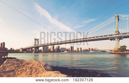 View of the Manhattan bridge from Brooklyn, New York