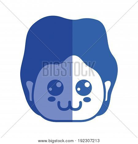 line man head with expression and hairstyle vector illustration