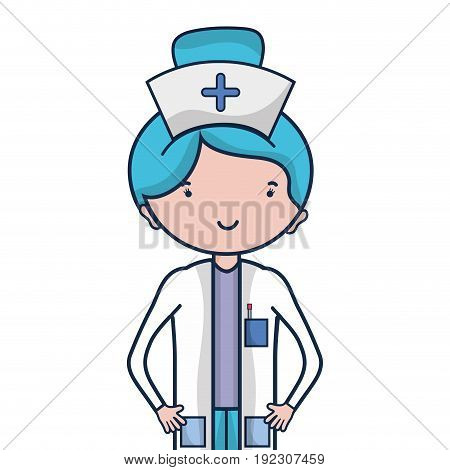 professional nurse with hat in the head vector illustration
