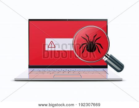 Vector illustration of classic detailed laptop computer with  detected bug under magnifying glass