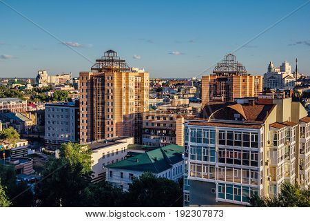 Aerial view of Voronezh in summer, modern buildings