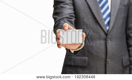 business man holding a blank business card