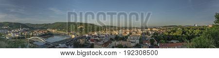 Sunrise in Usti nad Labem city from Marianska rock panorama view