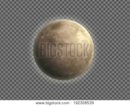 Vector illustration of cool single weather icon with realistic night moon isolated on transparent background