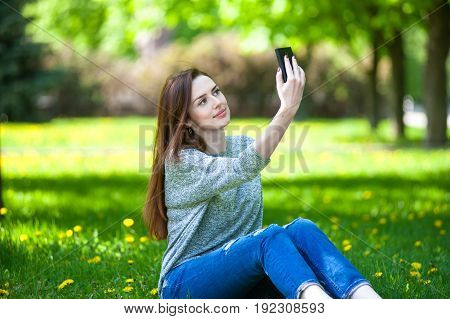 Girl Doing Selfie On Phone