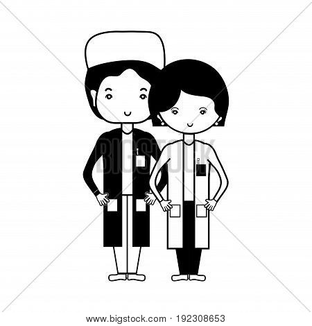 contour woman and man doctors with their uniform vector illustration