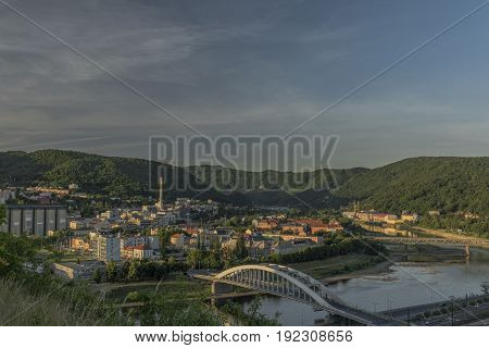 Sunrise in Usti nad Labem city from Marianska rock