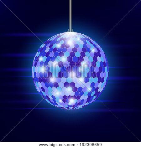 Disco ball. Dance, club. Vector illustration. Background