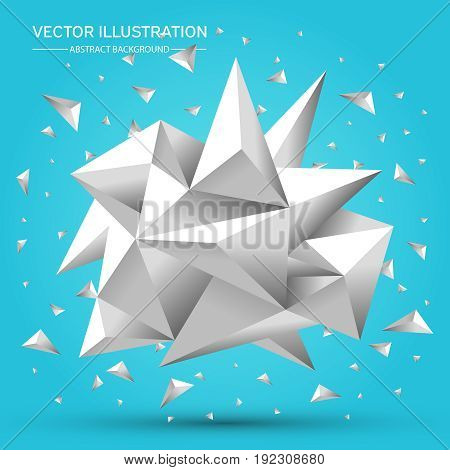 3D Low polygon geometry background. Abstract polygonal geometric shape. Lowpoly minimal style art. Triangles. Vector illustration.