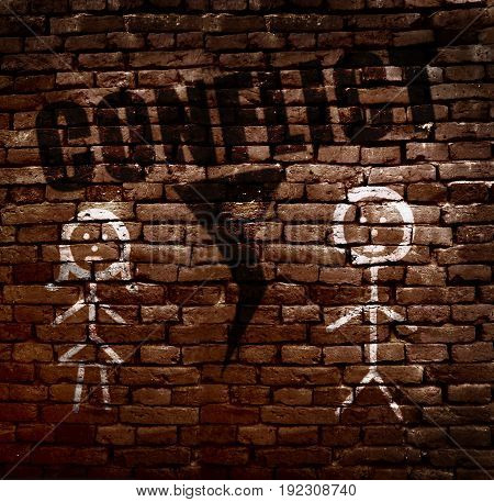 Stick figure man and woman with Conflict text on brick wall