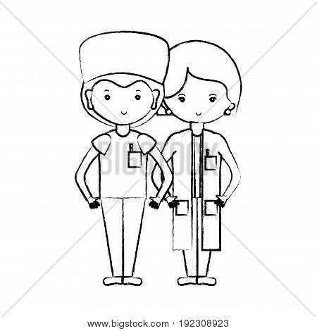figure woman and man doctors with their uniform vector illustration