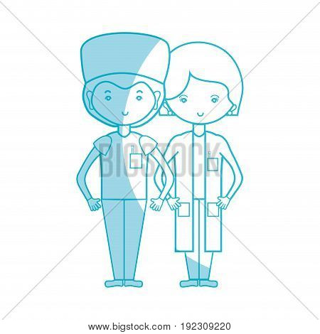 silhouette woman and man doctors with their uniform vector illustration