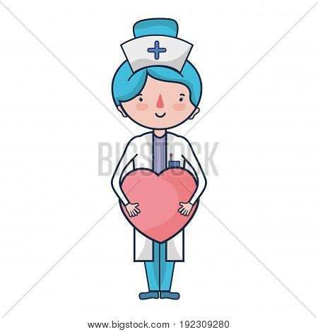 professional nurse with heart in tha hands vector illustration