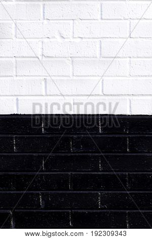 Black and white brick wall background. Spase for text. Verticale. Close up.