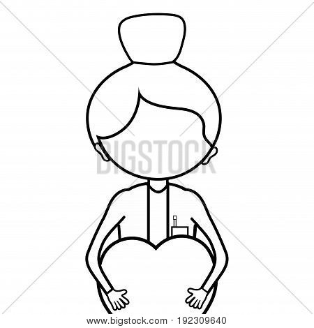 line woman doctor with heart in her hands vector illustration