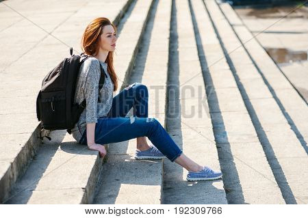 Girl Sitting On Stone Steps 08