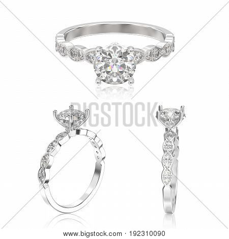 3D illustration three view of white gold or silver rings with diamonds with reflection on a white background