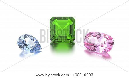 3D illustration closeup group of three different blue green pink gems zoom macro on a grey background