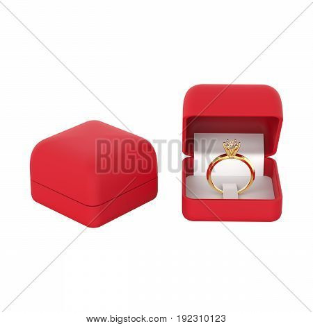 3D illustration closeup isolated two red boxes with white gold or silver diamond ring on a white background