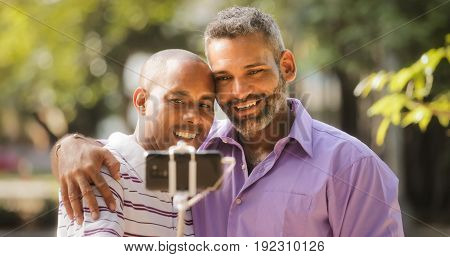 Homosexual Gay Couple Men Taking Selfie With Smartphone