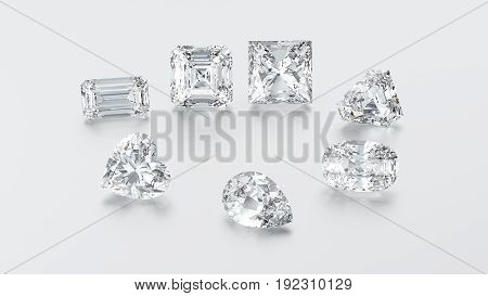 3D illustration closeup group of seven different diamonds zoom macro on a grey background