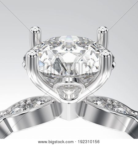 3D illustration isolated zoom macro white gold or silver ring with diamonds on a white background
