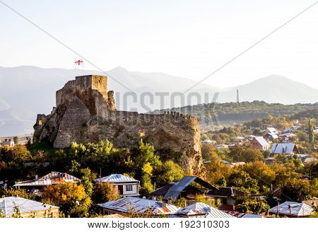 Ruins Of One Of The Many Mountain Fortresses In Georgia.