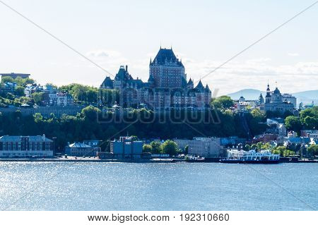 The Château Frontenac in the middle of the vintage part of Quebec City, Canada.