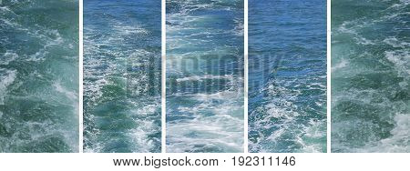 Set of rough water texture photos in panoramic banner