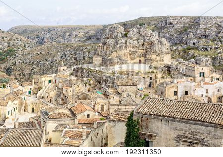 The Church of Madonna de Idris is in the upper part of Monterrone a large limestone cliff in the middle of Sassi di Matera Basilicata Italy