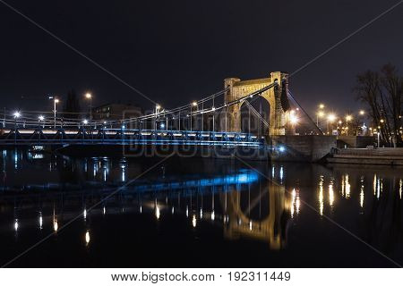 Wroclaw, the Grunwaldzki bridge night panorama, river crossing odra