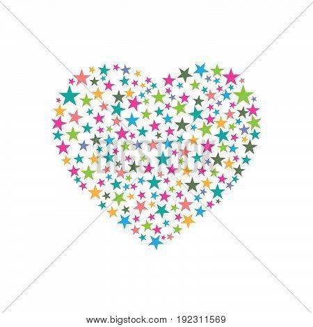 Heart consist of stars design. Vector illustration.