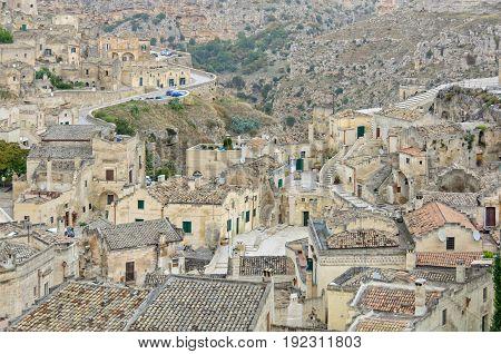 Cave city along the ravine La Gravina - Matera Basilicata Italy