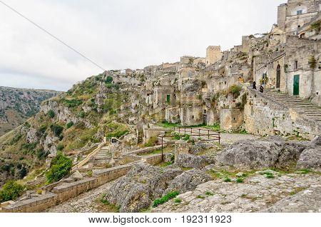 The cave-town Sasso Caveoso at the edge of La Gravina - Matera Basilicata Italy