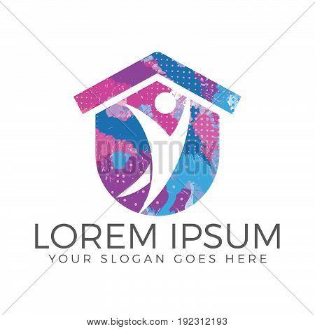 Abstract happy human home logo design. Health center home care real estate apartments or hotel logo kindergarten or preschool design concept.