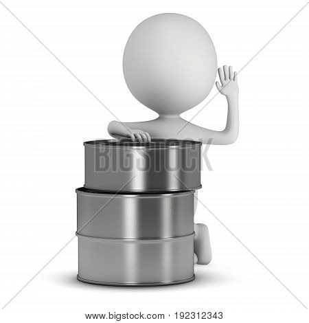 Man stands near aluminum cans. 3D render of metal canned food isolated on white.