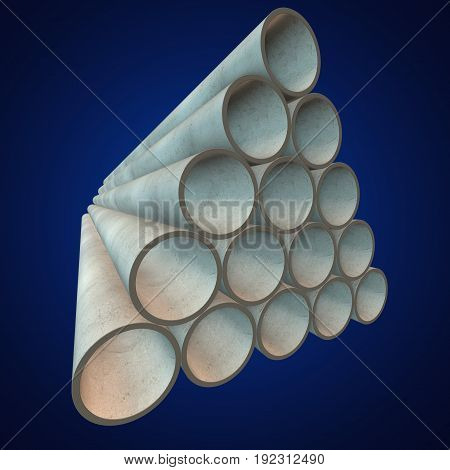 Stack of plastic pipes. 3d render on blue