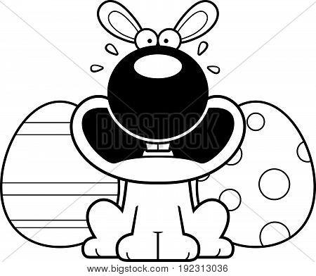 Scared Cartoon Easter Bunny