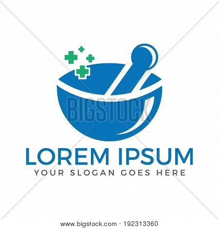 Pharmacy medical logo. Natural mortar and pestle logotype.