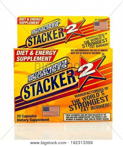 Winneconne WI - 4 June 2017: A package of Stacker 2 diet and energy capsules an isolated background