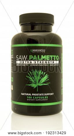 Winneconne WI - 4 June 2017: A bottle of Havusa Nutrition saw palmetto extra strength capsules an isolated background